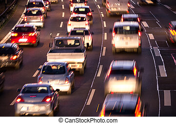 traffic jam - cars in traffic jam in evening
