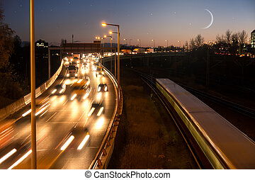 highway, moon and stars - highway in evening, moon and stars