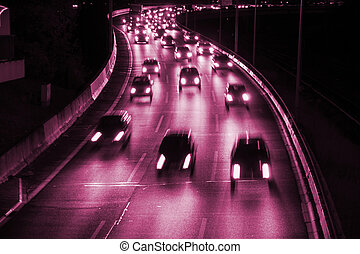 highway - cars on highway in violet color