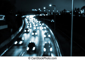 highway by night - traffic on highway by night