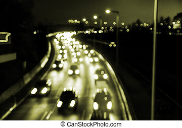 carlight on highway (bokeh) by night