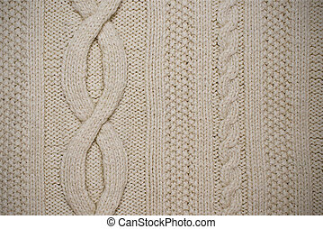 texture of white knitted fabric with patterns