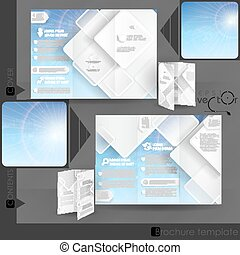 Business Brochure Template Design With White Square Elements...