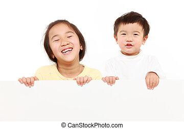 branca, crianças, tábua