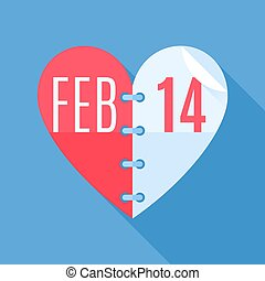 Valentines Day Calendar - Calendar showing the date 14th of...