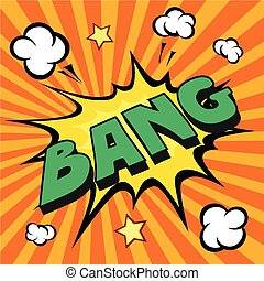 bang comic explosion vector illustration  yellow explode
