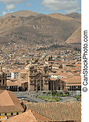City of Cusco, Peru with cathedral Santo Domingo in...