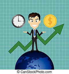 business man success with time and money
