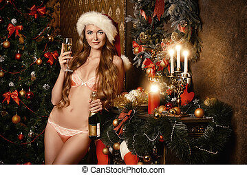 eros santa - Sexy young woman in beautiful lingerie...