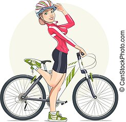 Beautiful girl in helmet with mountain bike. Sport. Eps10...