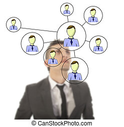 Businessman with online friends network isolated on white...