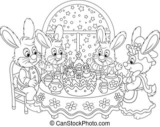 Christmas dinner - Family of rabbits at the holiday table...