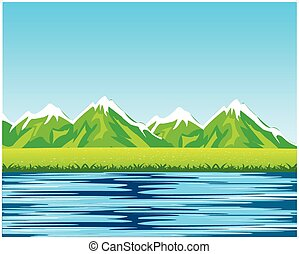 Sea and mountains - Beautiful landscape with by sea and...