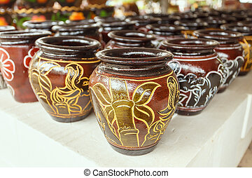 The flowerpot made from baked clay in Thailand, Thai...