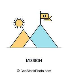 Mission - Vector illustration of mission flat line design...