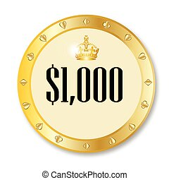 Gambling Chip - A gold 1000 dollar gambling chip over a...
