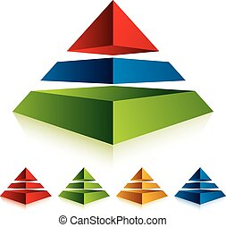 Pyramid icon with three layers - Pyramid icon with three...
