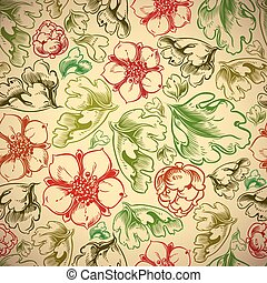 Vintage style seamless background with flowers and leaves -...