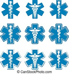 Emergency ambulance medicine symbols set.