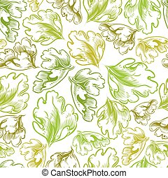 Vintage style seamless background with leaves. - Vintage...