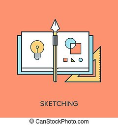 Sketching - Vector illustration of sketching flat line...