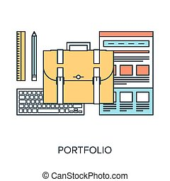 Portfolio - Vector illustration of portfolio flat line...
