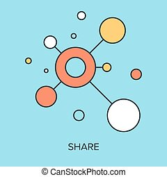 Share Icon - Vector illustration of share flat line design...