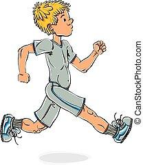 Running teen boy. - Running teen boy vector cartoon, cartoon...