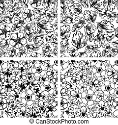 Vintage seamless floral patterns - Set of black and white...