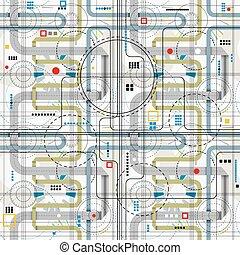 Techno style seamless pattern. - Techno style seamless...
