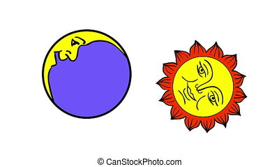 Moon And Sun cartoon, isolated on white background. 2d...