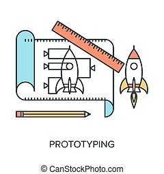 Prototyping - Vector illustration of prototyping flat line...