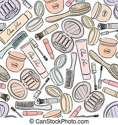 Cosmetics seamless background.