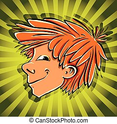 Crafty boy face - Crafty boy face vector cartoon