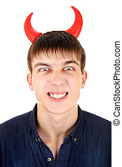 Teenager with Devil Horns - Angry Teenager with Devil Horns...
