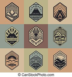 Mount badge set1color1 - Set of alpinist and mountain...