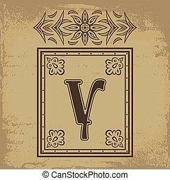 Letter Y - Capital letter Y in old Russian style vector...