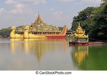 Floating royal barge in Yangon, Myanmar - Floating Barge...