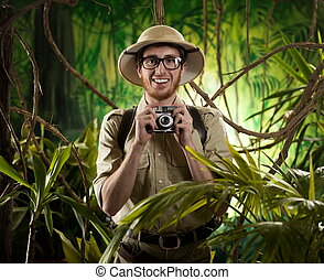 Young photographer in the jungle