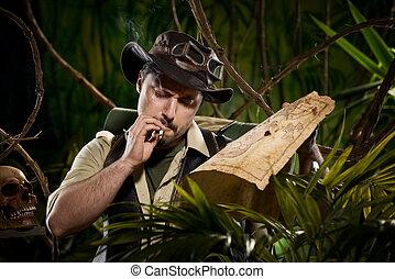Explorer lost in jungle - Lost explorer in the jungle...