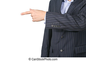 business man pointing his finger isolated on white