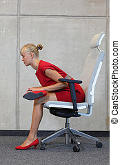 business woman exercising - break at work in office - relax...