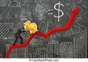 businessman pushing dollar at trend chart starting point with do