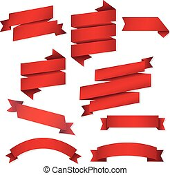 Red Web Ribbons Set, Vector Illustration