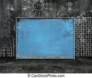 old blue blank weathered noticeboard with sun city buildings doo
