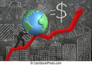 businessman pushing globe at trend chart starting point with...