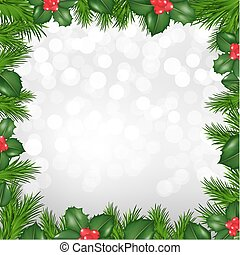 Christmas Silver Border From Holly Berry