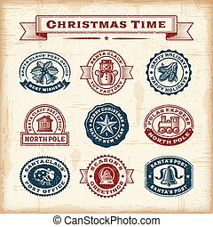 Vintage Christmas stamps set