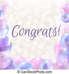 Congrats Card With Balloons With Gradient Mesh, Vector...