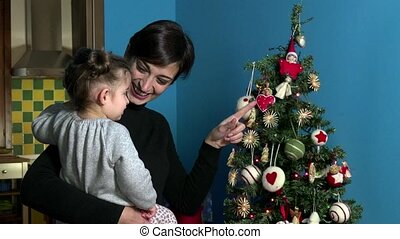Mother Daughter Xmas Christmas Tree - Happy mom and child,...